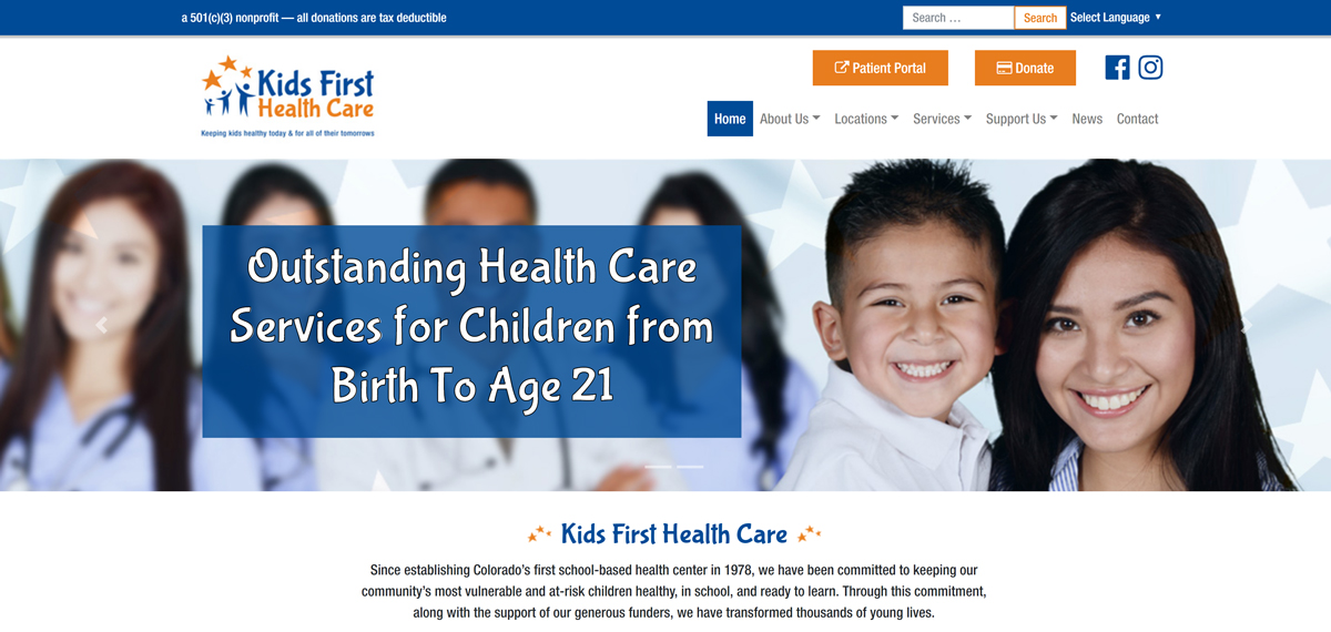 Kids First Health Care website
